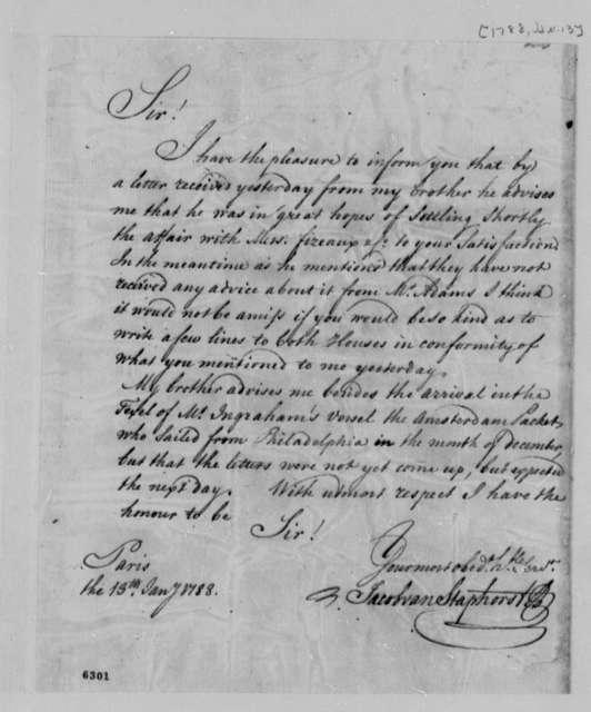 Jacob van Staphorst to Thomas Jefferson, January 13, 1788