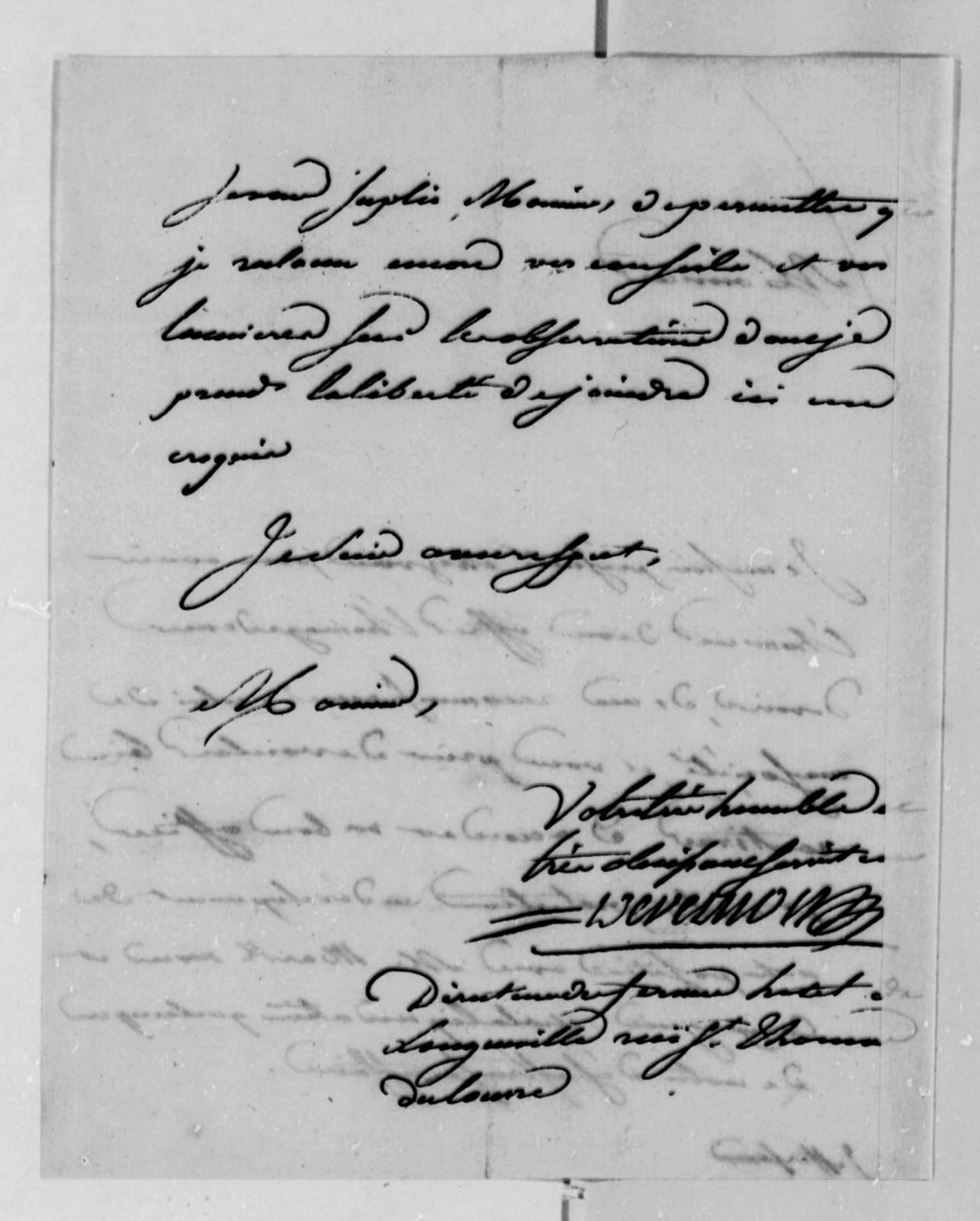 Jacob Vernes to Thomas Jefferson, February 18, 1788, in French