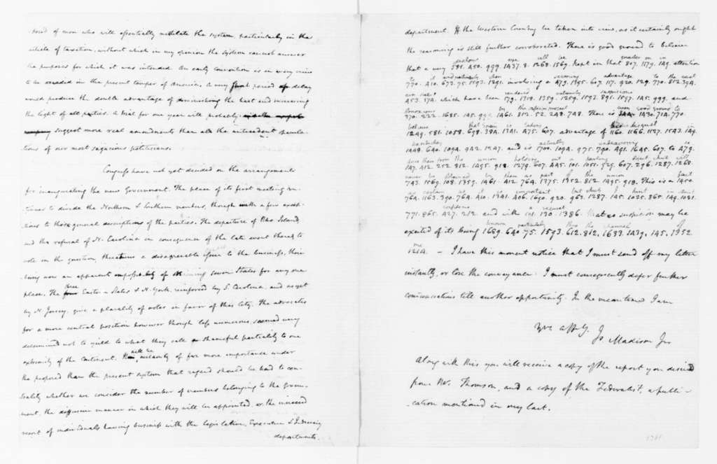 James Madison to Thomas Jefferson, August 23, 1788. Partly in Cipher.