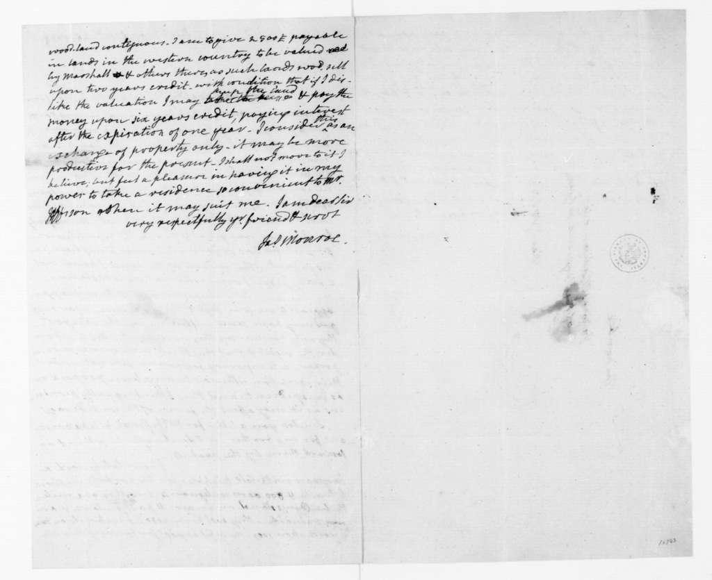 James Monroe to James Madison, October 26, 1788.