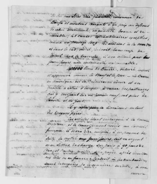 James Swan to French Government, May 29, 1788, Proposal to Provide Meat and Dairy Products; in French