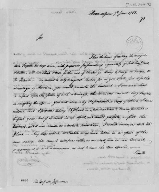 James Swan to Thomas Jefferson, June 7, 1788, Proposal to Provide Meat and Dairy Products