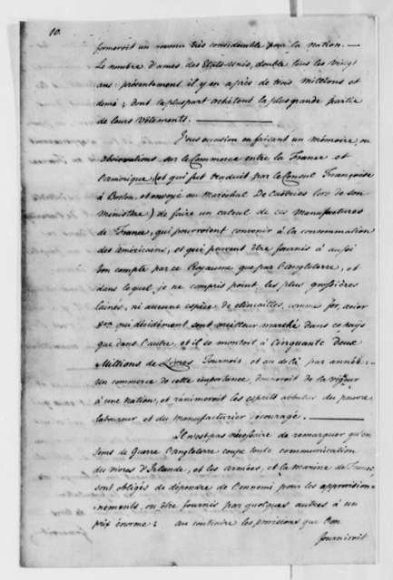 James Swan to Thomas Jefferson, May 29, 1788, Proposal to Provide Meat and Dairy Products; in French