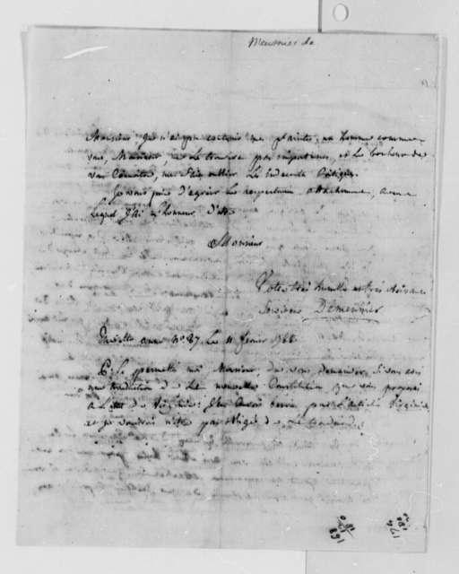 Jean Nichol Demuenier to Thomas Jefferson, February 11, 1788, in French
