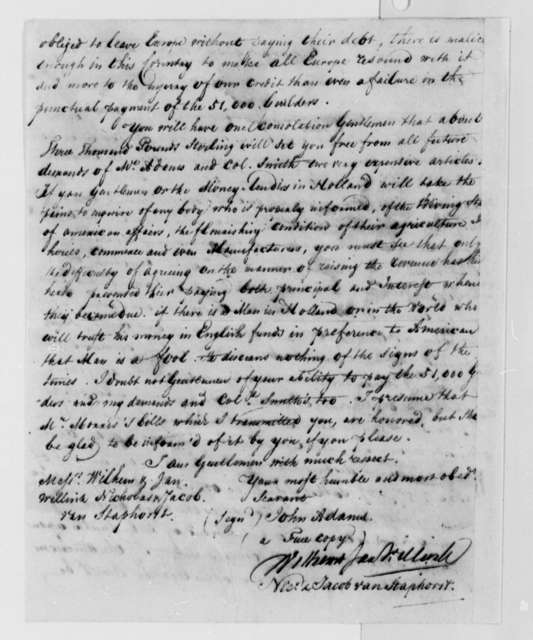 John Adams to Wilhelm Willink, et al, January 22, 1788, United States Finances and Debt