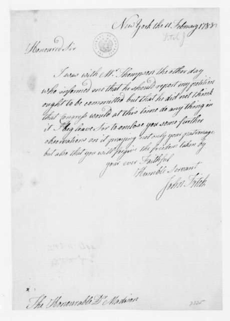 John Fitch to George Washington, February 11, 1788.