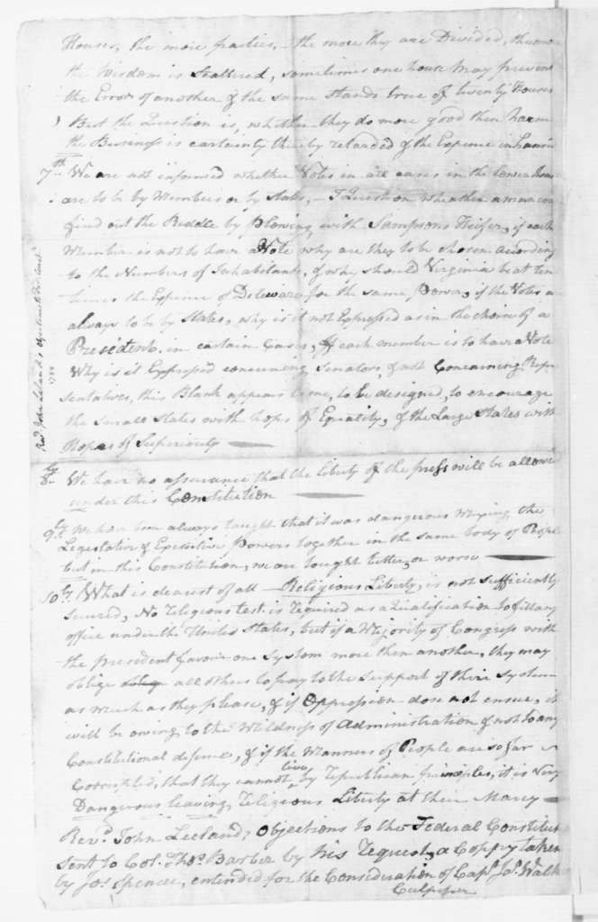 John Leland to T. Barber, February 28, 1788.