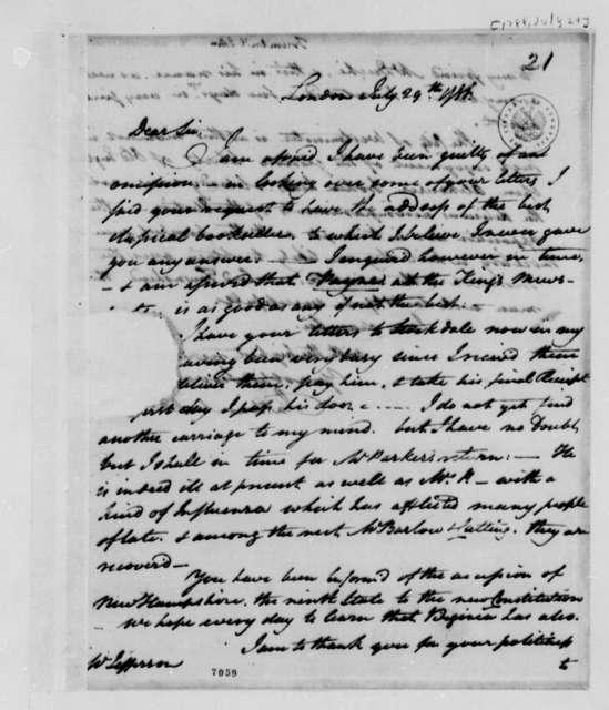 John Trumbull to Thomas Jefferson, July 29, 1788