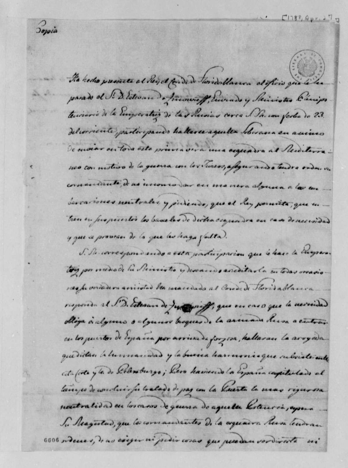 Jose Monino, Conde de Floridablanca to Stephen Zinovieff, April 27, 1788, Permission for Russian Vessels to Enter Spanish Ports Only in Emergency; in Spanish