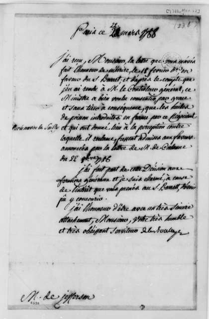 La Boullaye to Thomas Jefferson, March 22, 1788, in French