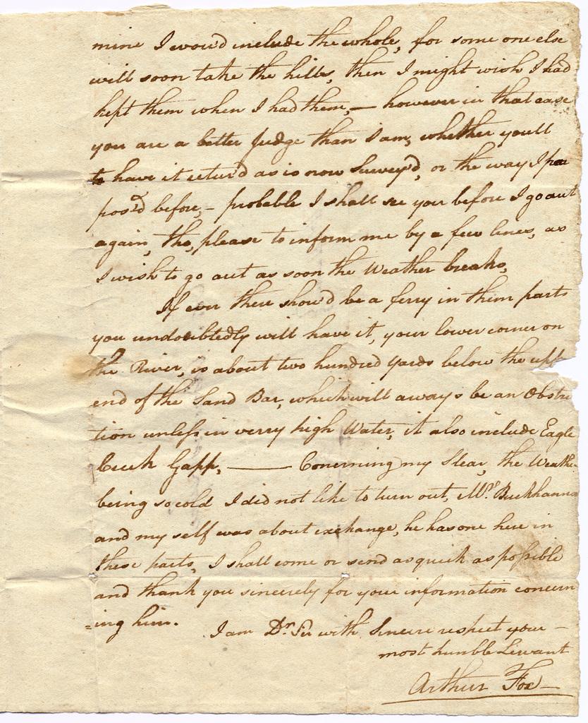 Letter from Arthur Fox to Edmund Lyne