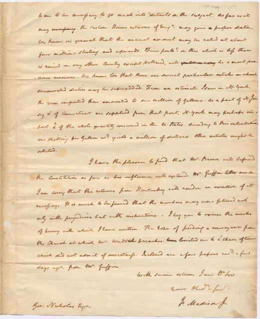 Letter from James Madison to George Nicholas