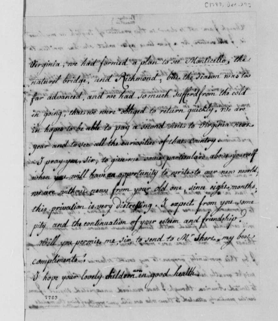 Madame de Brehan and Eleonore Francois Elie, Comte de Moustier to Thomas Jefferson, December 29, 1788