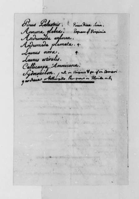 Madame Noailles de Tesse to Thomas Jefferson, August 7, 1788, with List of Plants of Virginia and the Carolinas; in French with Thomas Jefferson's Notations in Latin and English