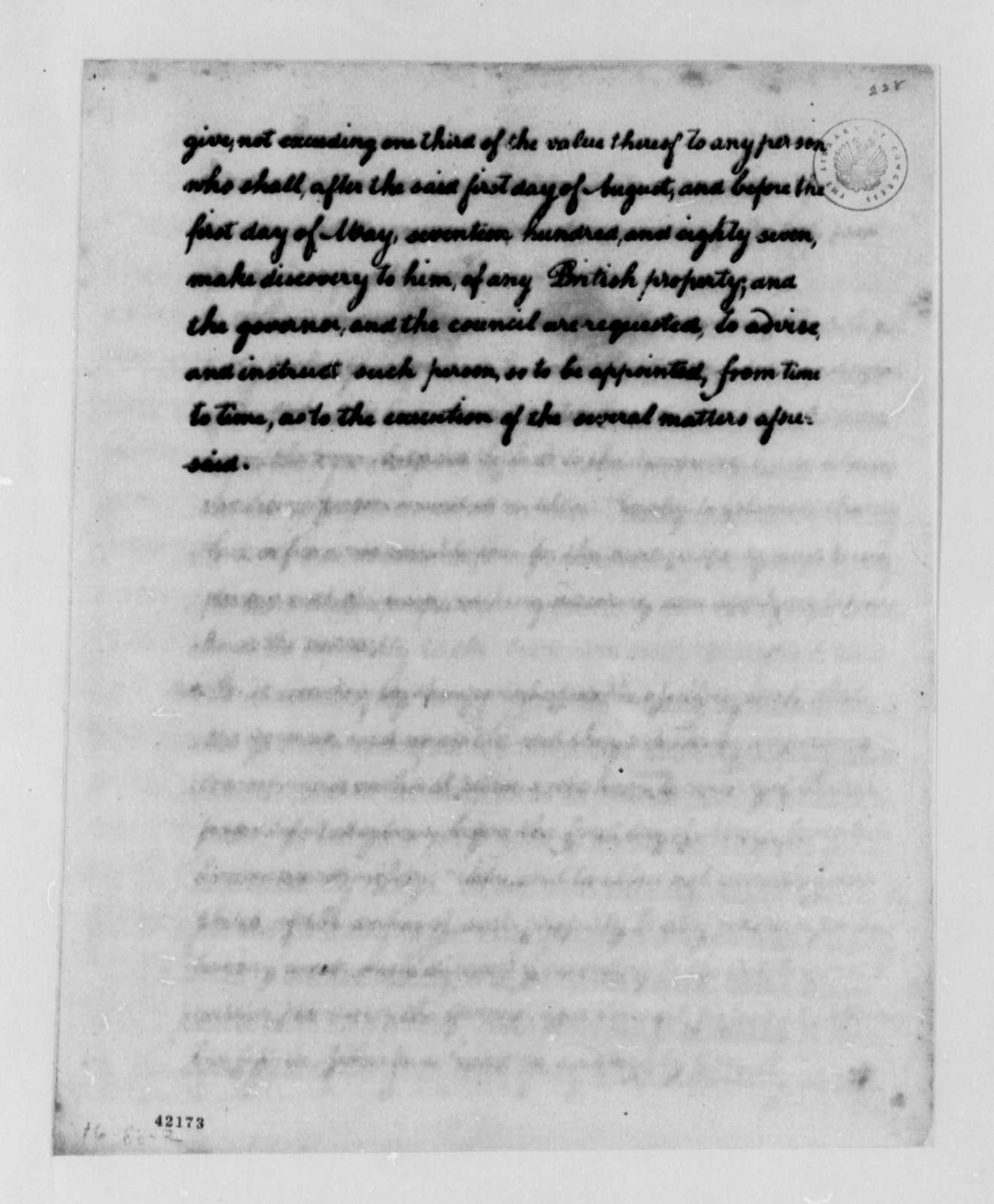 Maryland Laws and Statutes, 1788, Extract from Act on British Property