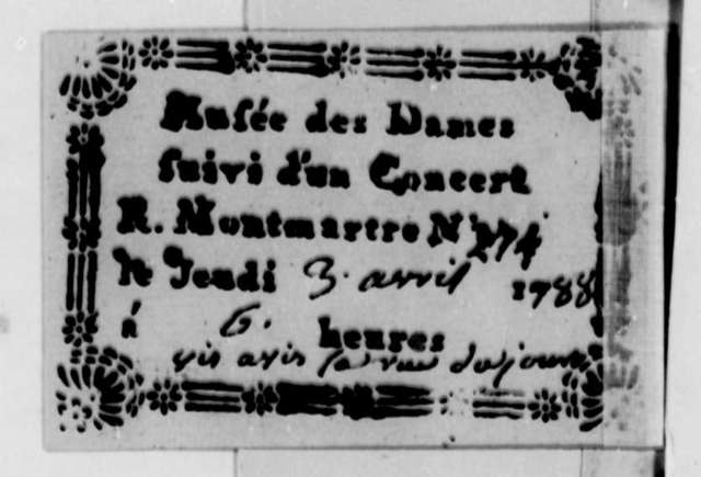Musee des Dames, April 3, 1788, Ticket for Performance; in French
