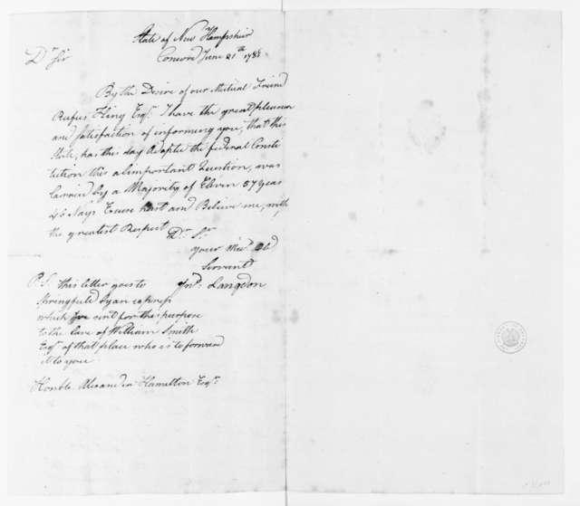 Philip Schuyler to James Madison, June 24, 1788. with Copy of John Langdon to Alexander Hamilton, June 21, 1788.