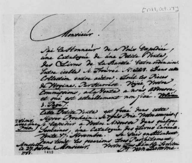 Pieter Van Damme to Thomas Jefferson, October 27, 1788, in French