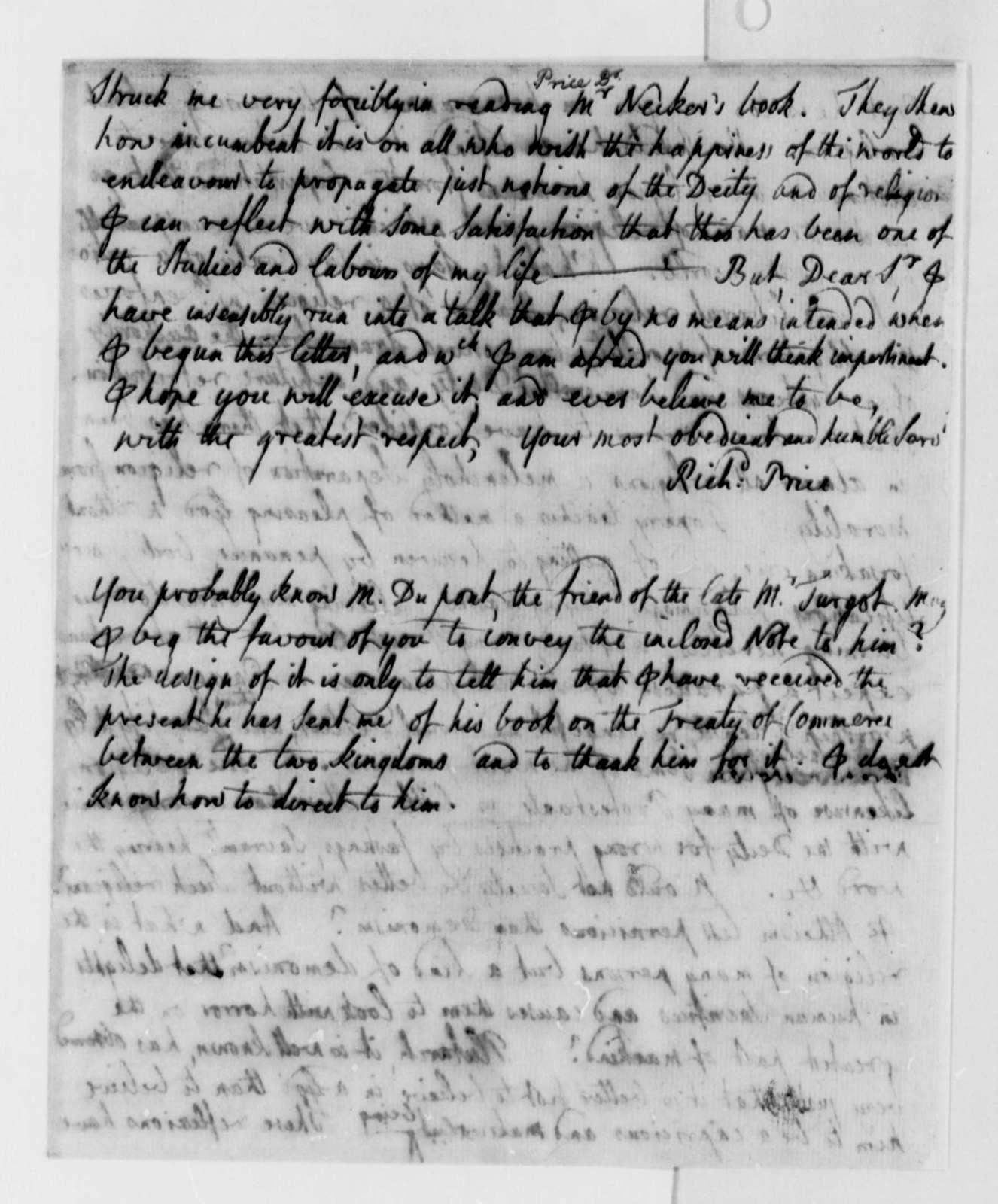 Richard Price to Thomas Jefferson, October 26, 1788