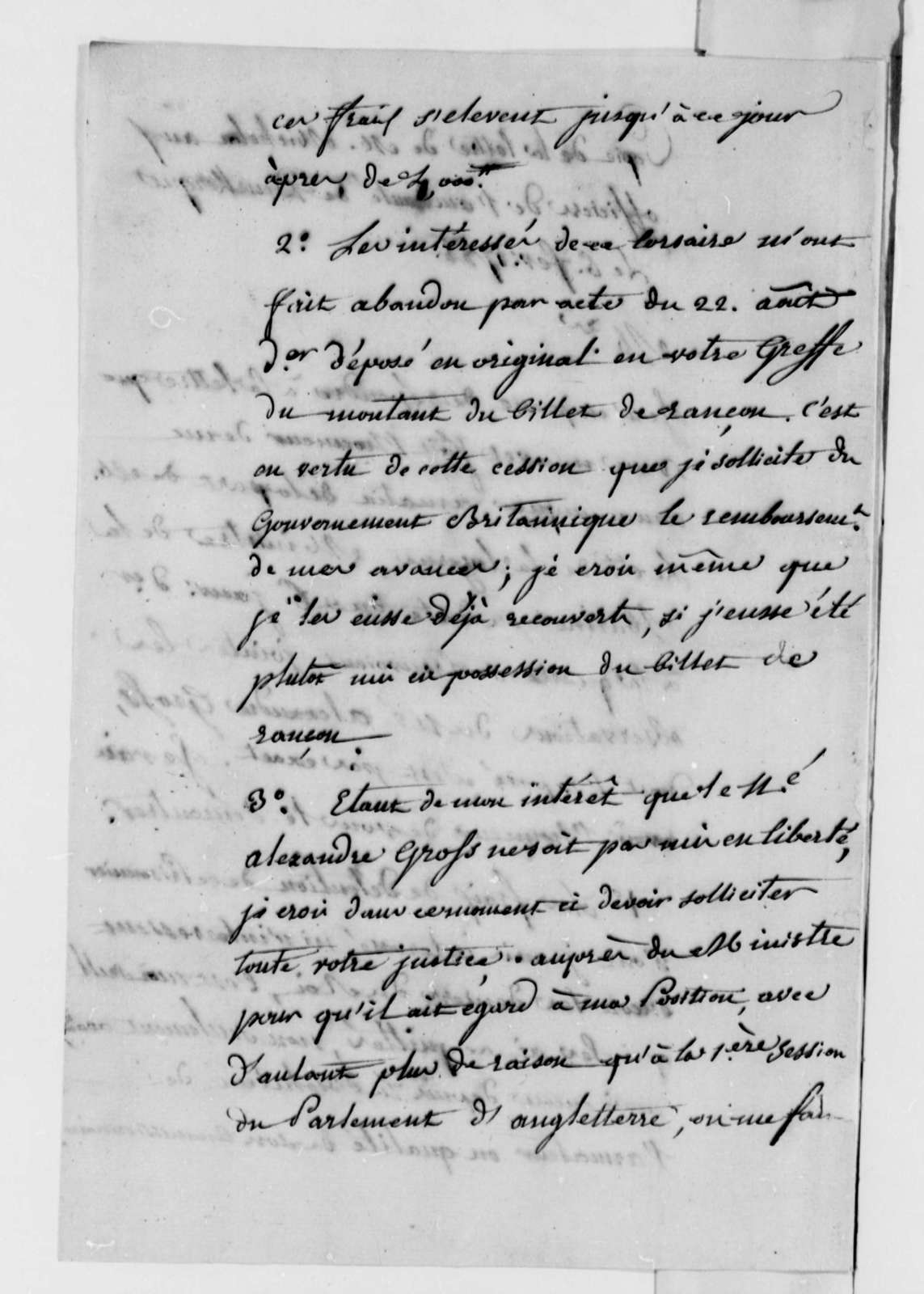 S. Michelon to Officer of the Admiralty at Dunkirk, February 6, 1788, Impressment and Imprisonment of American Seaman Alexander Gross; in French