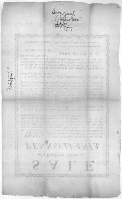 Sale of a forfeited estate in Pennsylvania. Whereas the estate of Christian Hook, Esq. late of the city of Philadelphia ... hath been forfeited to this Commonwealth, by his attainder for treason. I the subscriber, agent for the county of Northam