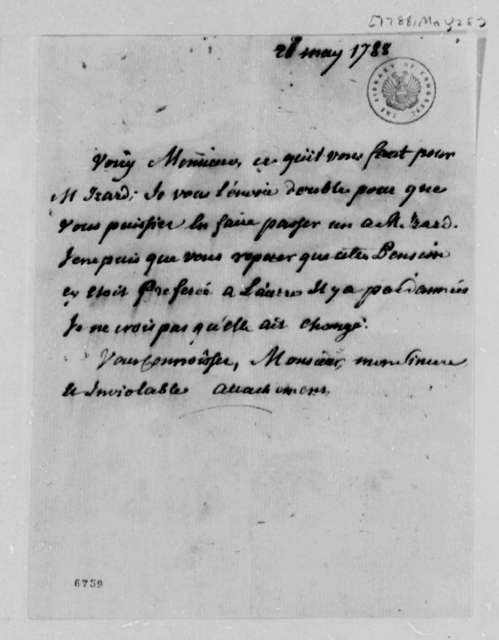 Sarsfield to Thomas Jefferson, May 28, 1788, Engineering School Information for Ralph Izard; in French