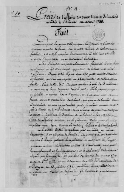 """Seizure of Two Irish Cutters at L'Orient, France, on August 29, 1788, December 13, 1788, """"No. 4. Precis de L'Affaire""""; in French"""