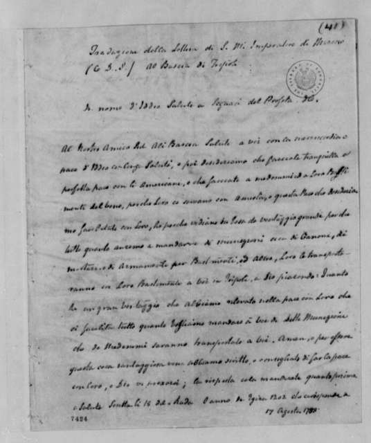 Sidi Mahomet, Emperor of Morocco to Sid Ali, Bey of Tripoli, August 17, 1788, Recommendation of Peace with the United States; Italian Translation