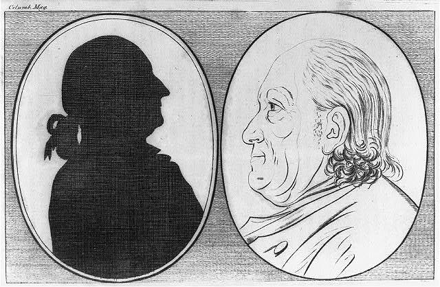 [Silhouette of George Washington and bust portrait of Benjamin Franklin]