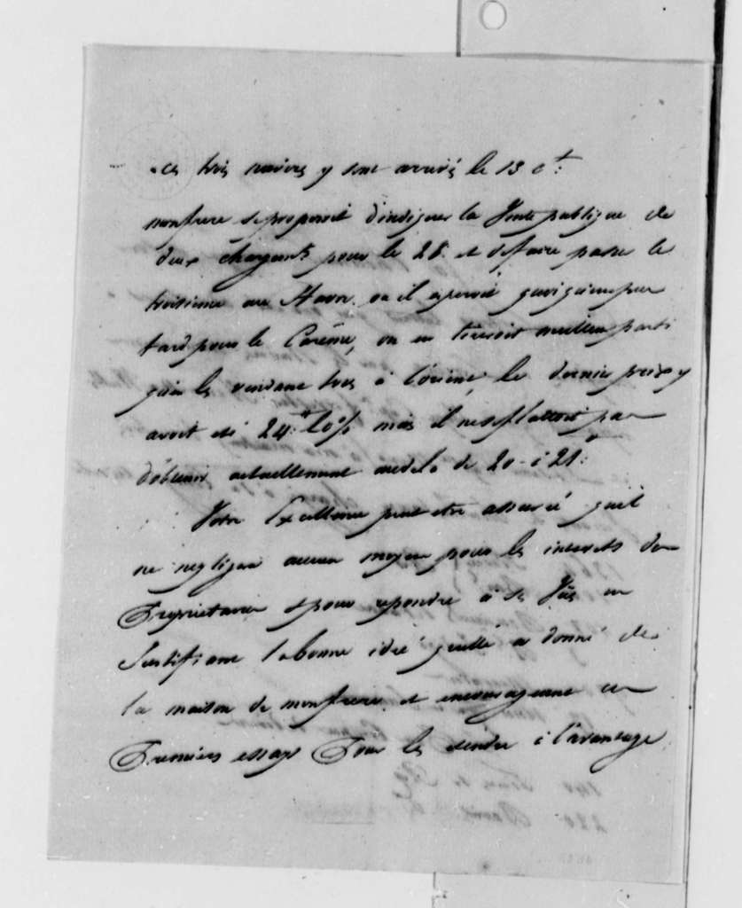 Simon Berard to Thomas Jefferson, February 17, 1788, in French