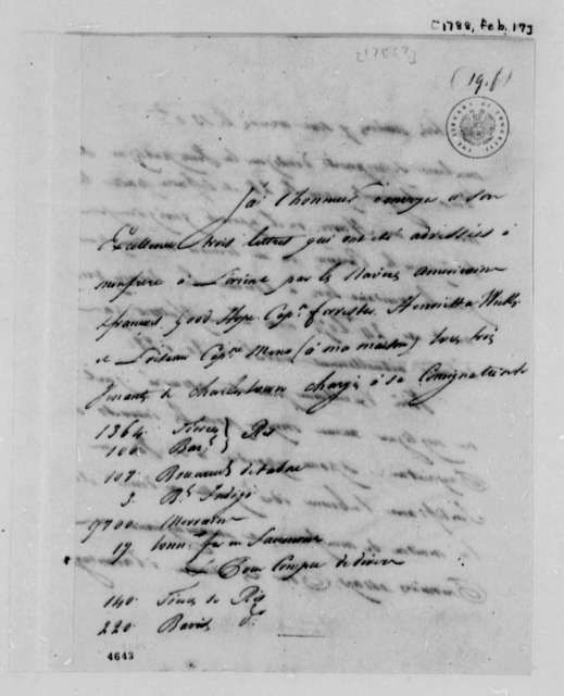 Simon Berard to Thomas Jefferson, February 17, 1788, in French
