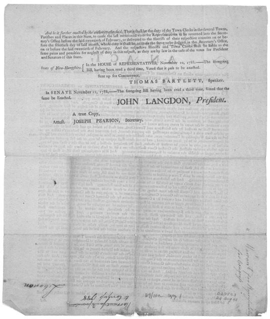 State of New-Hampshire. In the year of our Lord, one thousand seven hundred and eighty-eight. An act, for carrying into effect an ordinance of Congress of the thirteenth of September last, relative to the constitution of the United States ... In