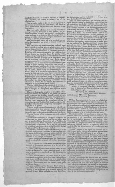 State of Rhode-Island, and Providence Plantations. In General Assembly, October session, 1788. Whereas his Excellency George Clinton, Esq; President of the Convention of New York, hath transmitted to the Legislature of this State a proposal, tha