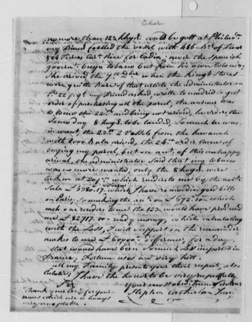 Stephen Cathalan Jr. to Thomas Jefferson, January 25, 1788