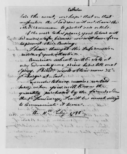 Stephen Cathalan Jr. to Thomas Jefferson, July 11, 1788