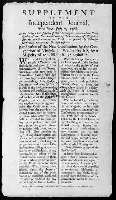 Supplement to the Independent Journal, New-York, July 2, 1788