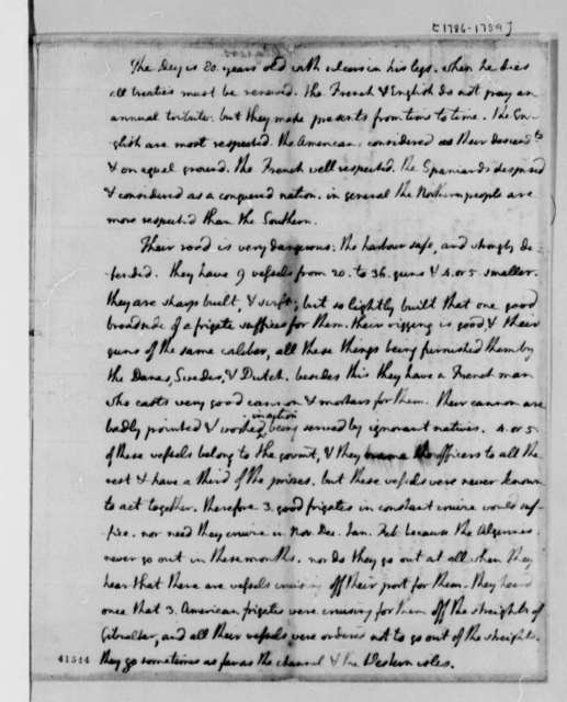 Thomas Jefferson, January 1788, Information on American Prisoners in Algiers