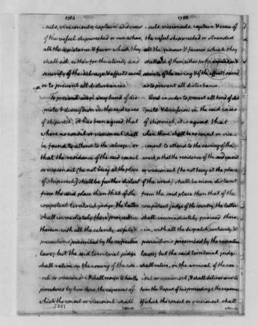 Thomas Jefferson, November 14, 1788, No. 1. Comparison of 1784 and 1788 Consular Conventions