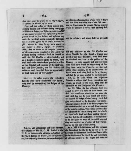 Thomas Jefferson, November 14, 1788, Printed Comparison of 1784 and 1788 Consular Conventions