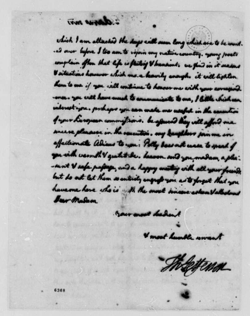 Thomas Jefferson to Abigail Smith Adams, February 2, 1788, Expense Account Enclosed