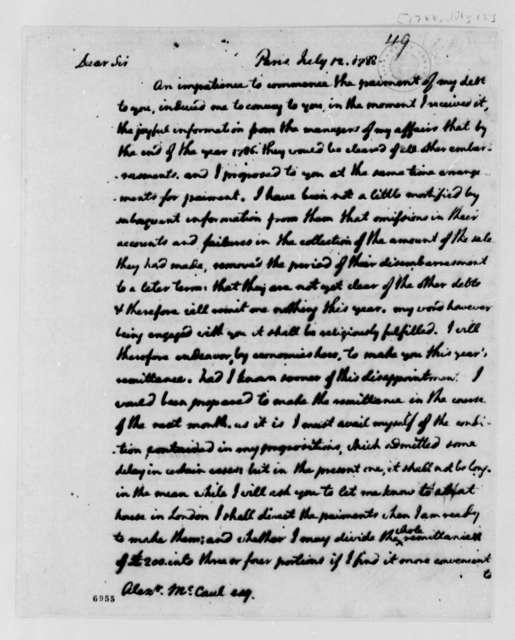 Thomas Jefferson to Alexander McCaul, July 12, 1788