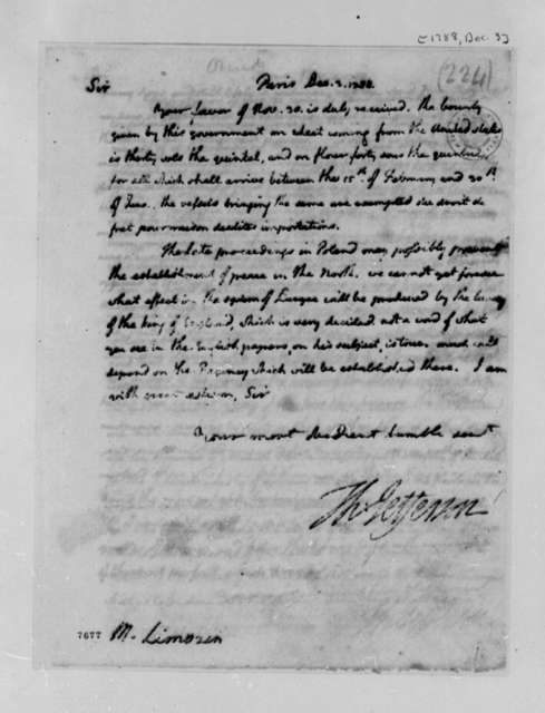 Thomas Jefferson to Andre Limozin, December 3, 1788