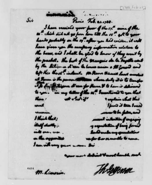 Thomas Jefferson to Andre Limozin, February 21, 1788, Bust of Marquis de Lafayette; Speculation on War; Fragment Missing