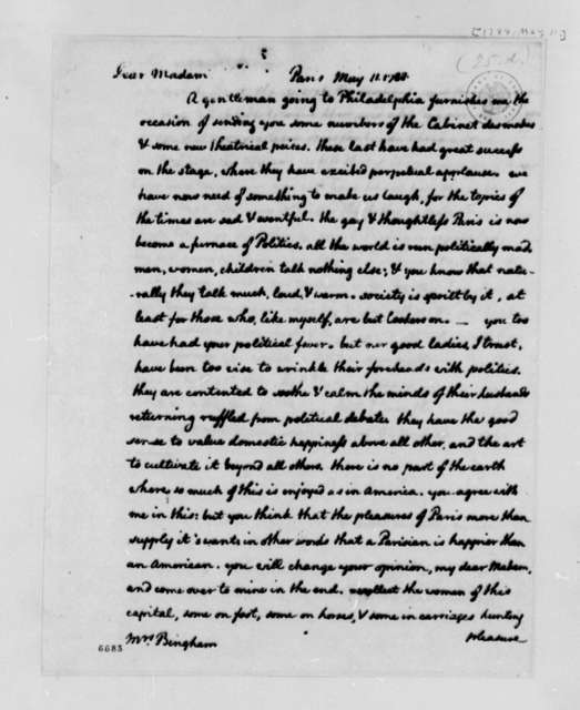 Thomas Jefferson to Anne Willing Bingham, May 11, 1788