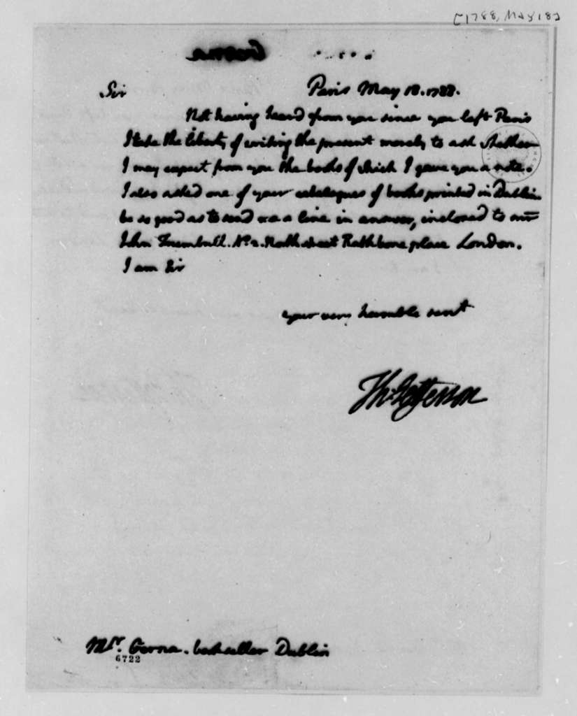 Thomas Jefferson to Anthony Gerna, May 18, 1788