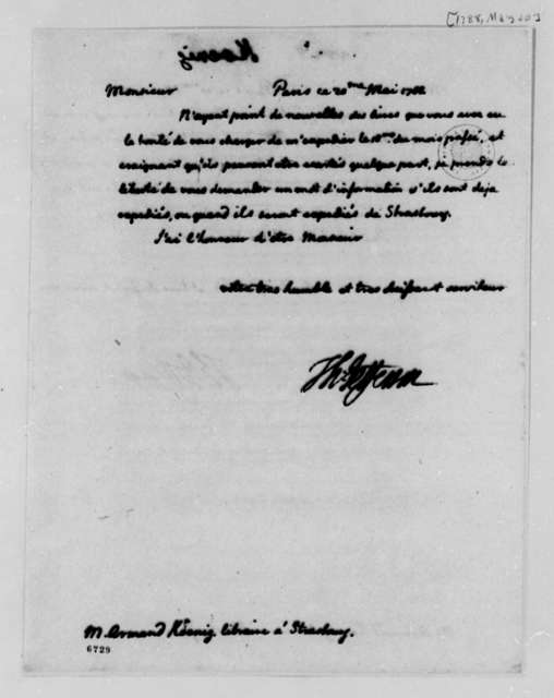 Thomas Jefferson to Armand Koenig, May 20, 1788, Book Order; in French