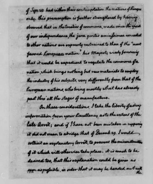 Thomas Jefferson to Armand-Marc, Comte de Montmorin-Saint-Herem, October 23, 1788, with Copy
