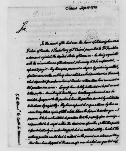 Thomas Jefferson to Armand-Marc, Comte de Montmorin-Saint-Herem, September 11, 1788, with Copy