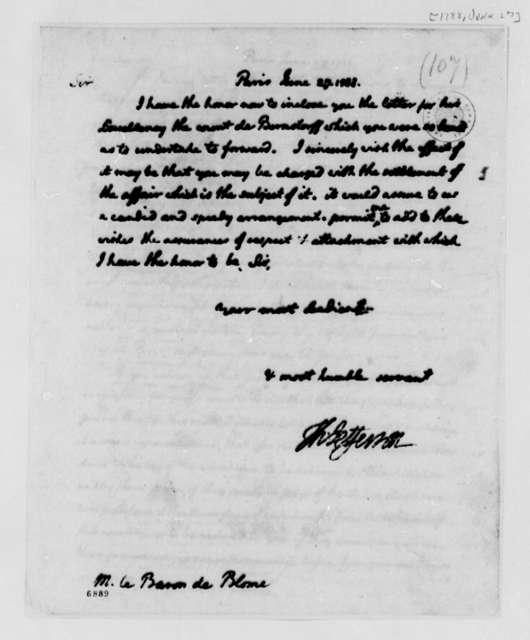 Thomas Jefferson to Baron de Blome, June 27, 1788, Letter for Count de Bernstorff
