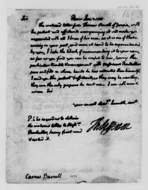 Thomas Jefferson to Burrill Carnes, January 3, 1788